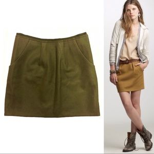 J. Crew Felted Wool Green Pocket Mini Skirt 4